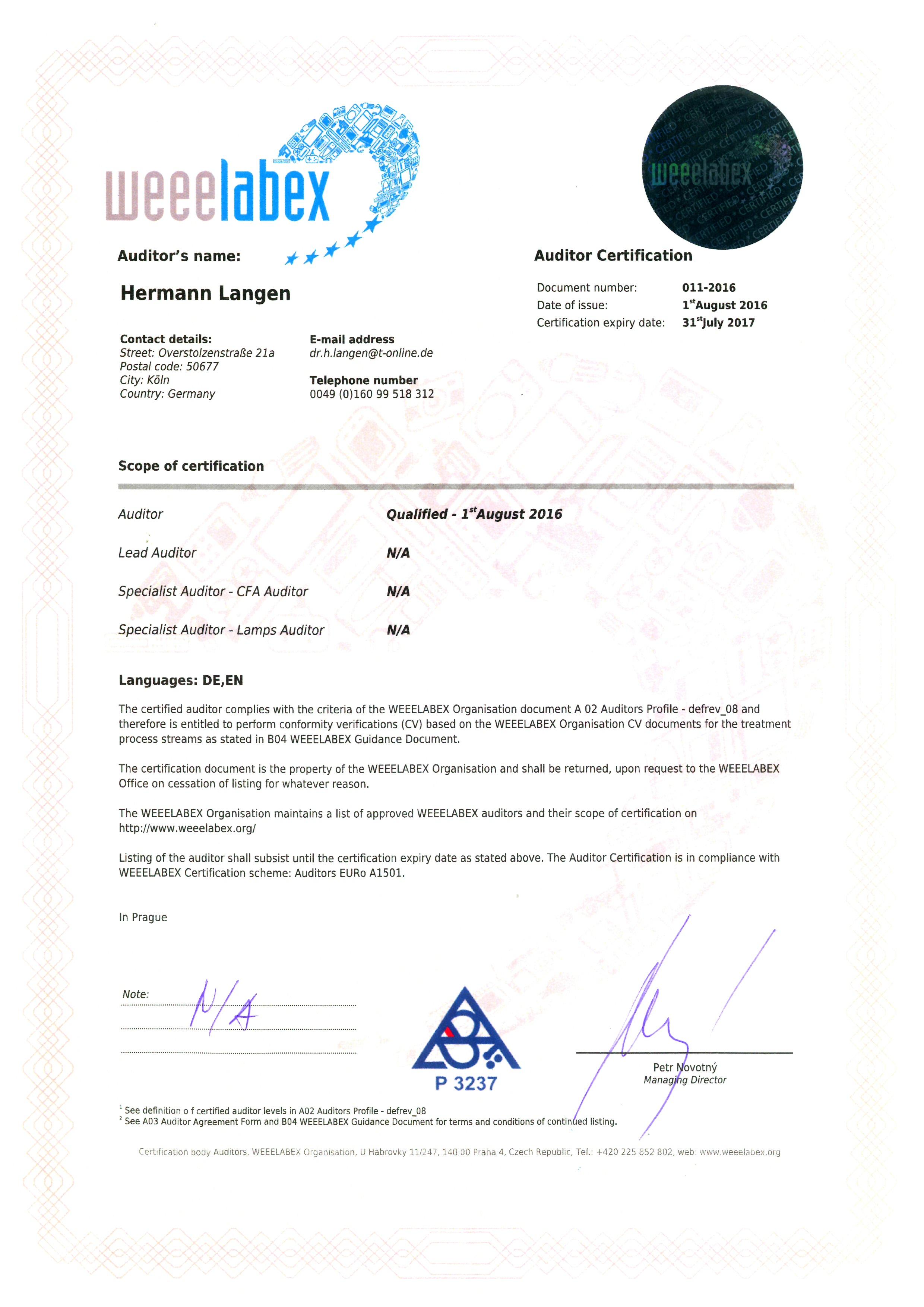 WEEELABEX Zertifikat